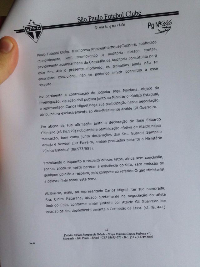 Quarta parte do parecer da Comissão de Ética do São Paulo sobre Aidar