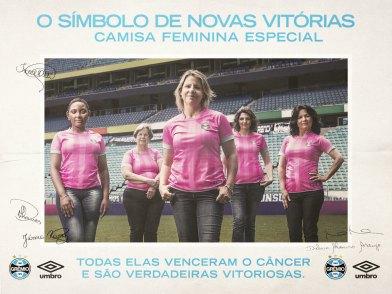 Camisa rosa do Grêmio possui versão apenas feminina