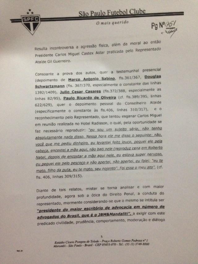 Primeira parte do Parecer da Comissão de Ética do São Paulo sobre Ataíde