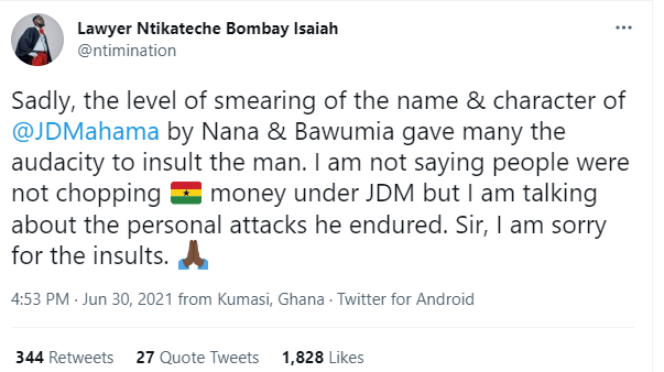 'I'm sorry for the insults' – Lawyer Nti apologises to Mahama 2