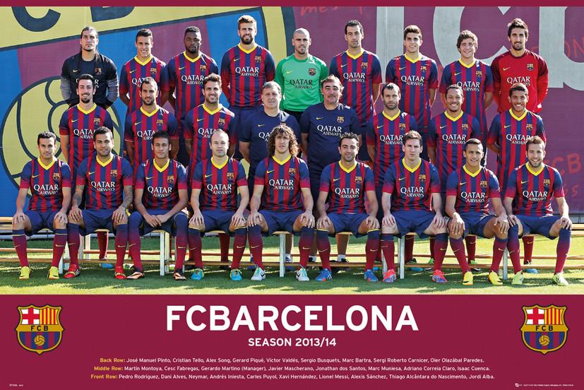 poster fc barcelona team photo 13 14