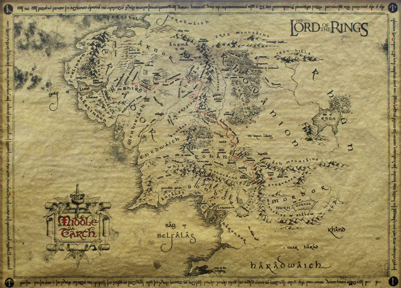 poster the lord of the rings middle earth map special