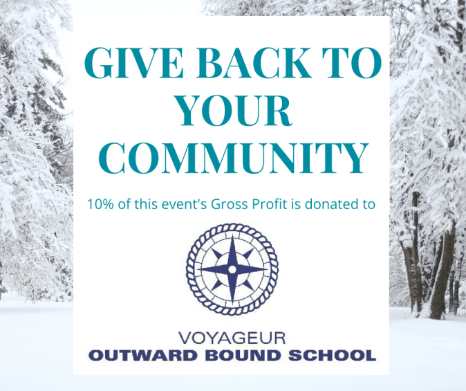 10% of gross profit is donated to voyageur outward bound school
