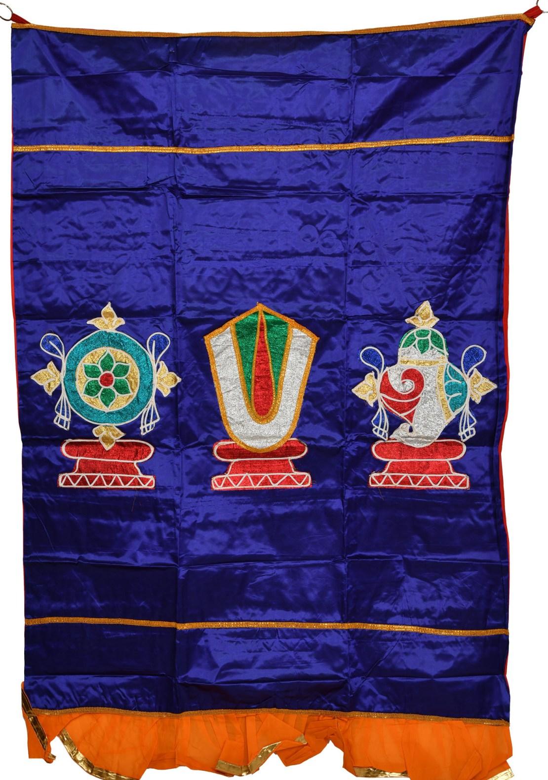 Clematis Blue Auious Temple Curtain With Vaishnava Symbols In Applique