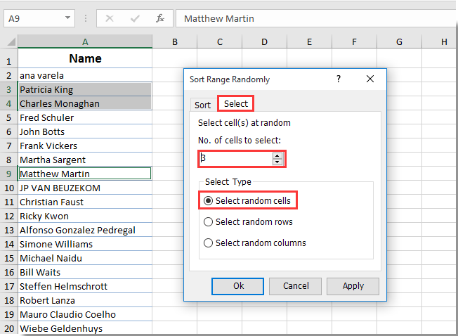 How To Select Random Names From A List In Excel