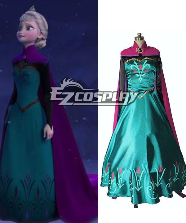 Frozen Snow Queen Elsa Outfit Disney Coronation Dress Cosplay Costume-Standard Ver.