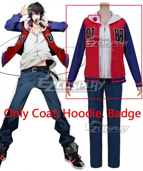 Hypnosis Mic Division Rap Battle Buster Bros Ichiro Yamada MC.B.B Big Brother Cosplay Costume - Only Coat, Hoodie, Badge