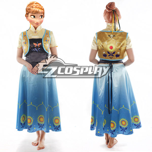 Frozen Fever Anna Princess Birthday Party Dress Cosplay Costume - B Edition