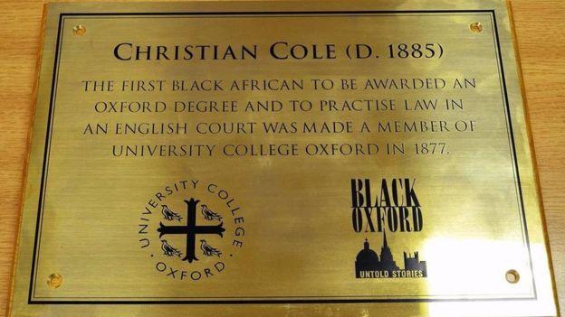 Christian Cole plaque