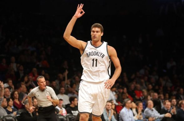 Nov 29, 2016; Brooklyn, NY, USA; Brooklyn Nets center Brook Lopez (11) reacts after hitting a three point shot against the Los Angeles Clippers during the first quarter at Barclays Center. Mandatory Credit: Brad Penner-USA TODAY Sports