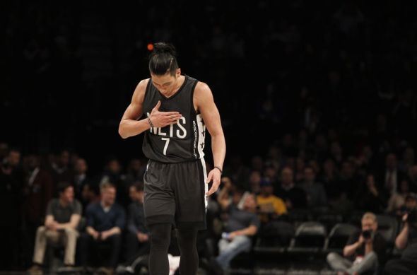 Dec 22, 2016; Brooklyn, NY, USA; Brooklyn Nets guard Jeremy Lin (7) reacts in the third quarter against the Golden State Warriors at Barclays Center. The Warriors won 117-101. Mandatory Credit: Nicole Sweet-USA TODAY Sports
