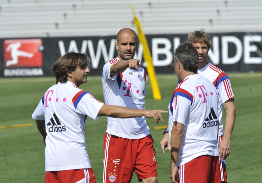 Aug 3, 2014; Portland, OR, USA; Bayern Munich coach Pep Guardiola directs plays during Bayern Munich training in preparation for the 2014 MLS All Star Game at University of Portland Merlo Field. Mandatory Credit: Susan Ragan-USA TODAY Sports