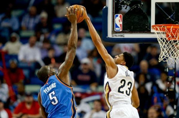 Anthony Davis With A Disgusting Block On Kendrick Perkins