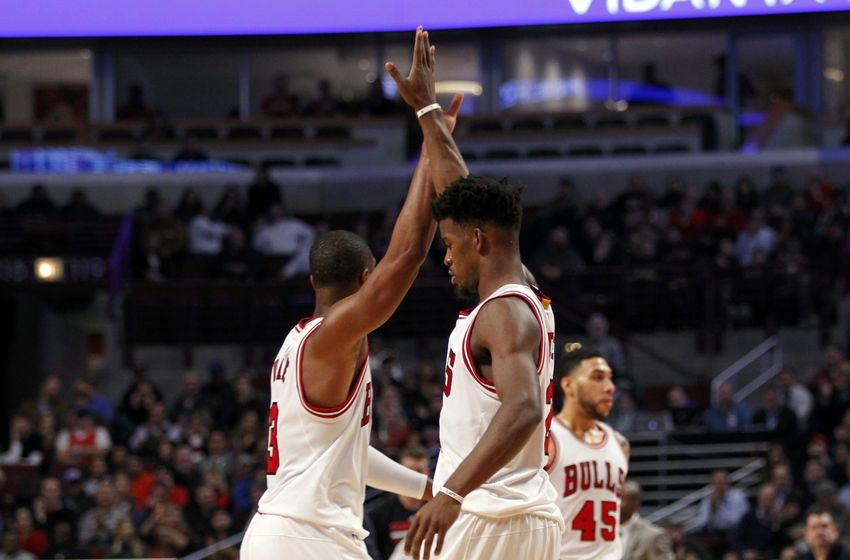 Dec 5, 2016; Chicago, IL, USA; Chicago Bulls guard Dwyane Wade (3) and forward Jimmy Butler (21) celebrate after the second quarter of the game against the Portland Trail Blazers at United Center. Mandatory Credit: Caylor Arnold-USA TODAY Sports