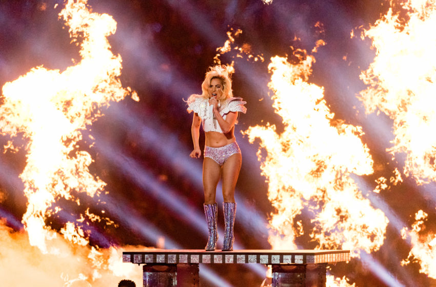Image result for images, lady gaga jumping off stage