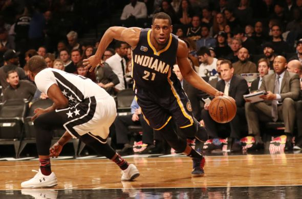 Feb 3, 2017; Brooklyn, NY, USA; Indiana Pacers forward Thaddeus Young (21) dribbles the ball during the first quarter against the Brooklyn Nets at Barclays Center. Mandatory Credit: Anthony Gruppuso-USA TODAY Sports