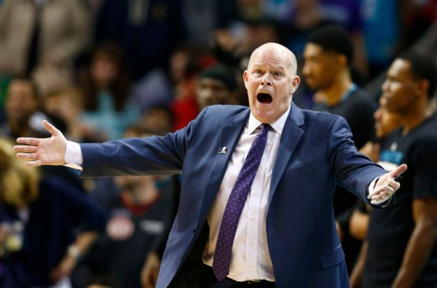 Mar 18, 2017; Charlotte, NC, USA; Charlotte Hornets head coach Steve Clifford reacts to a foul not being called in the second half against the Washington Wizards at Spectrum Center. The Hornets defeated the Wizards 98-93. Mandatory Credit: Jeremy Brevard-USA TODAY Sports