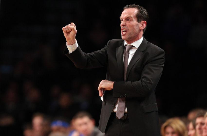 Mar 14, 2017; Brooklyn, NY, USA; Brooklyn Nets head coach Kenny Atkinson coaches against the Oklahoma City Thunder during the third quarter at Barclays Center. Mandatory Credit: Brad Penner-USA TODAY Sports