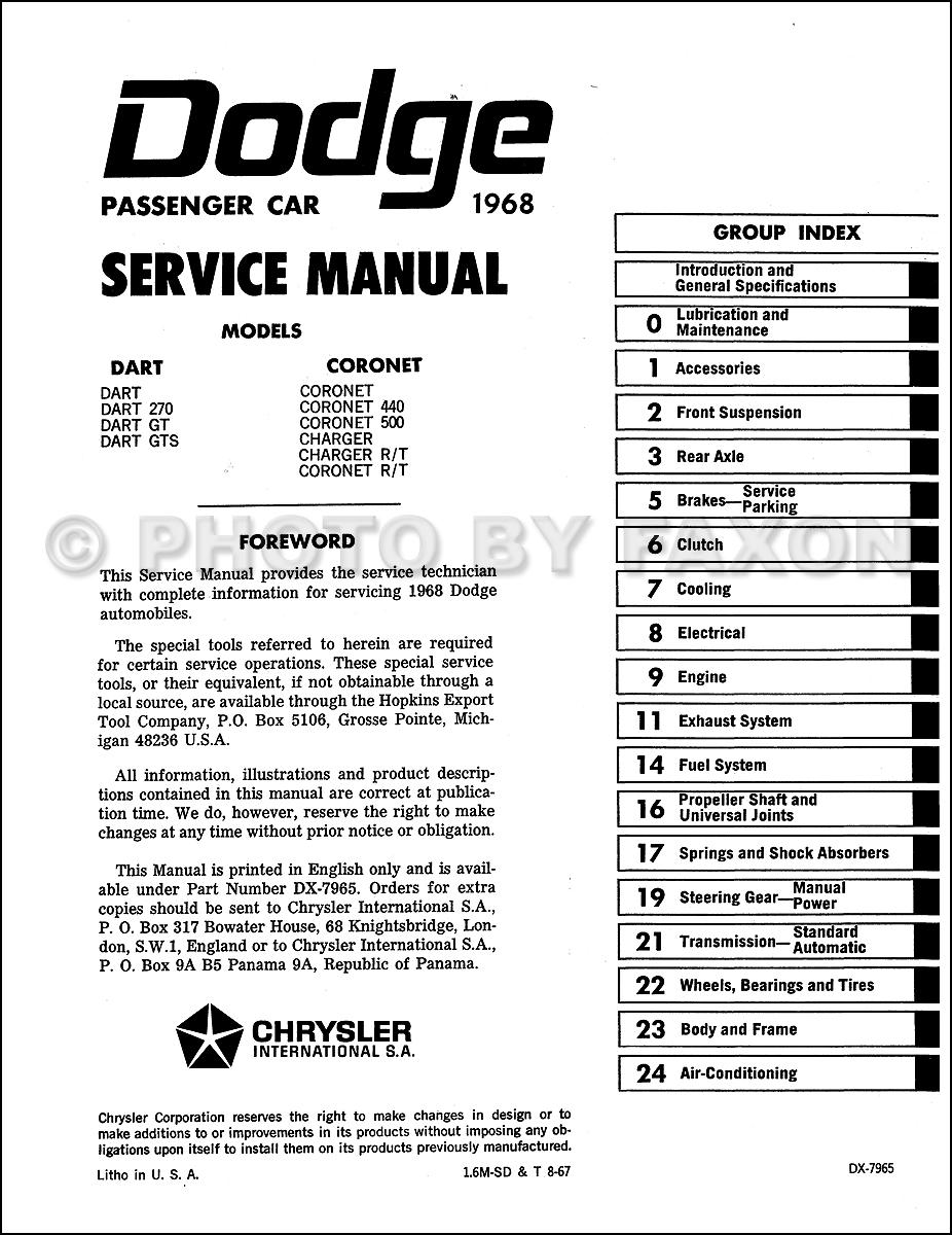 1968 Dodge Carburetor Wiring Diagram