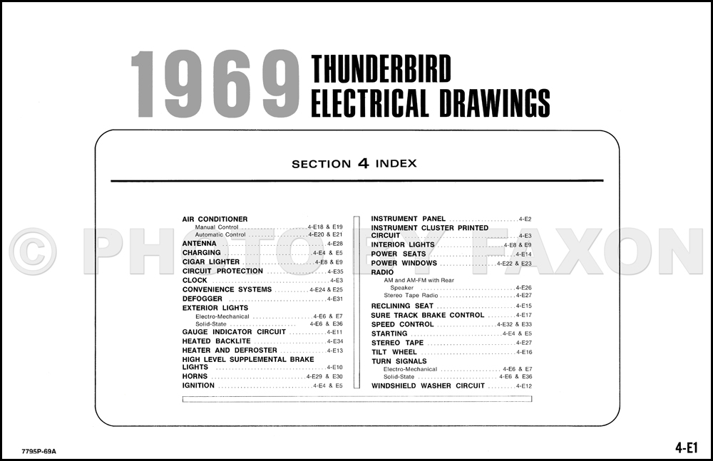 1969 Ford Thunderbird Wiring Diagram Original Electrical