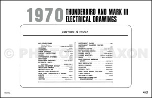 1970 Mark III and Thunderbird ORIGINAL Wiring Diagram Ford