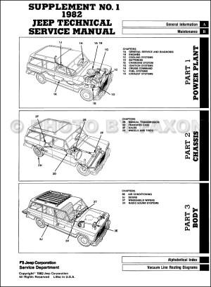 1983 Jeep Repair Shop Manual Supplement Reprint