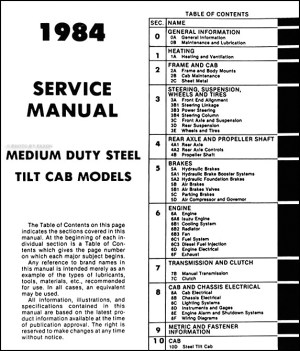 19841985 Tiltmaster Truck Repair Shop Manual Original