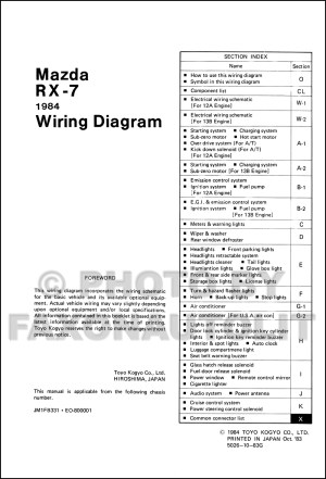 1984 Mazda RX7 Wiring Diagram Manual Original RX7
