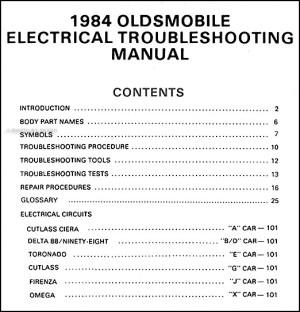 1984 Olds Electrical Manual 84 Toronado Cutlass 88 98