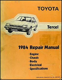 1984 Toyota Tercel Repair Shop Manual Original
