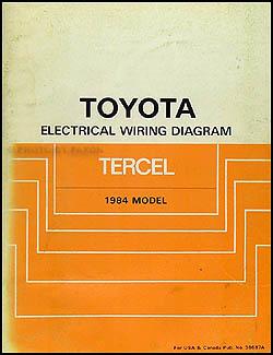 1984 Toyota Tercel Wiring Diagram Manual Original