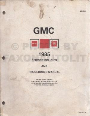 1985 GMC S15 Chevy S10 Wiring Diagram Original Pickup Truck Blazer Jimmy