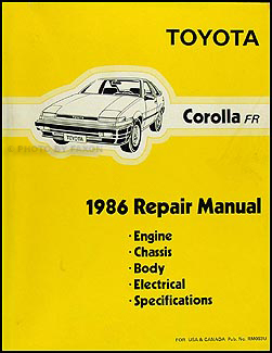 1986 Toyota Corolla RWD Wiring Diagram Manual Original GT