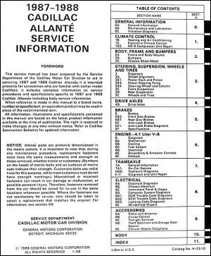 Original 19871988 Cadillac Allante Shop Manual 8788 OEM Repair Service Book