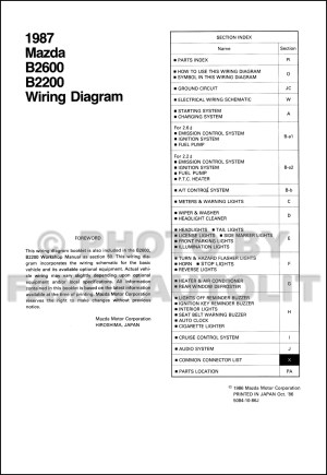 1987 Mazda B2200 B2600 Pickup Truck Wiring Diagram Manual