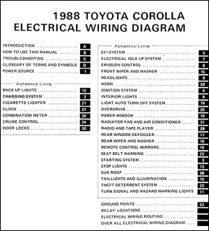 1988 Toyota Corolla FWD Wiring Diagram Manual Original
