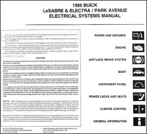 1989 Buick Electra Park Avenue LeSabre Electrical Manual