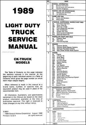 1989 GMC CK Sierra Pickup Truck Repair Shop Manual Original