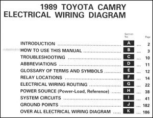 1989 Toyota Camry Wiring Diagram Manual Original