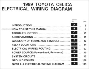 1989 Toyota Celica Wiring Diagram Manual Original