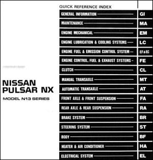 1990 Nissan Pulsar NX Repair Shop Manual Original
