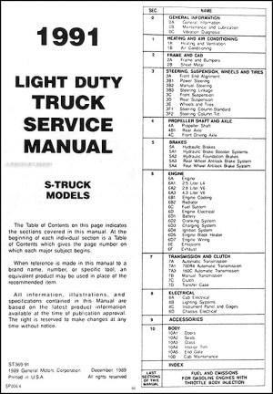 1991 Chevrolet S10 Pickup and Blazer Repair Shop Manual