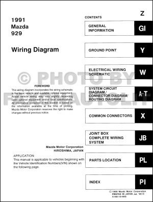 1991 Mazda 929 Wiring Diagram Manual Original