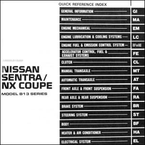 1991 Nissan SentraNX Coupe Repair Shop Manual Original