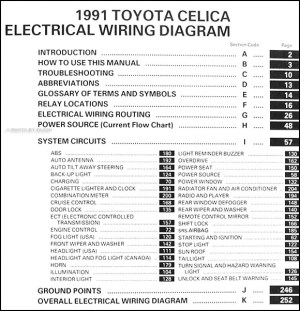 1991 Toyota Celica Wiring Diagram Manual Original