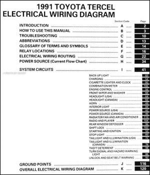 1991 Toyota Tercel Wiring Diagram Manual Original