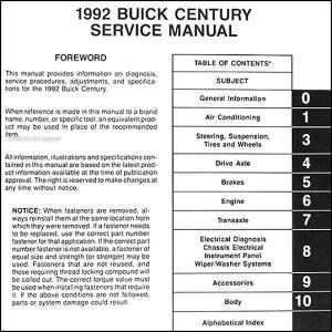 1992 Buick Century Repair Manual 92 Custom Special Ltd   eBay