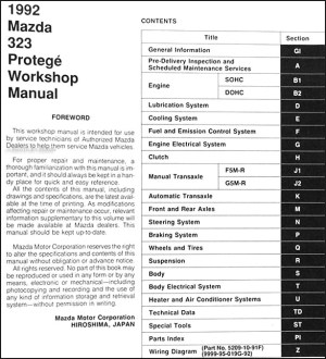 1992 Mazda 323 & Protege Repair Shop Manual Original
