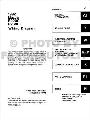 1992 Mazda B2200 B2600i Pickup Truck Wiring Diagram Manual