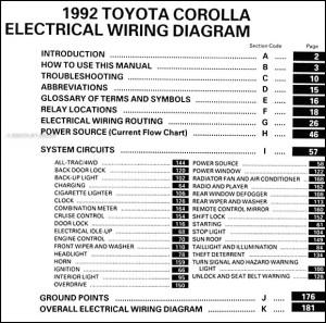 1992 Toyota Corolla Wiring Diagram Manual Original